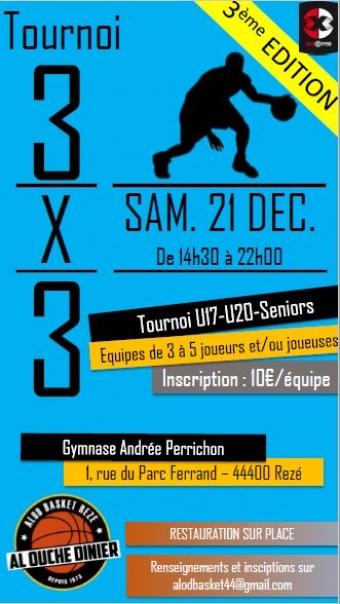 Tournoi 3x3 de l'AL Ouche Dinier Basket le 21/12