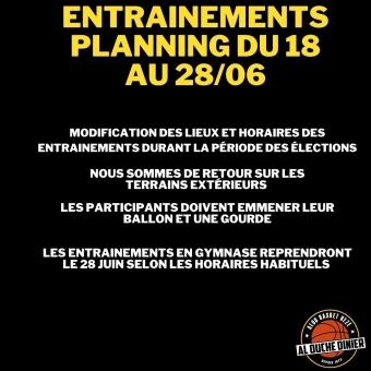 Entrainements : planning temporaire du 18 AU 28/06