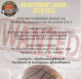Recrutement saison 2020/2021 : DF2, U18F et U13F